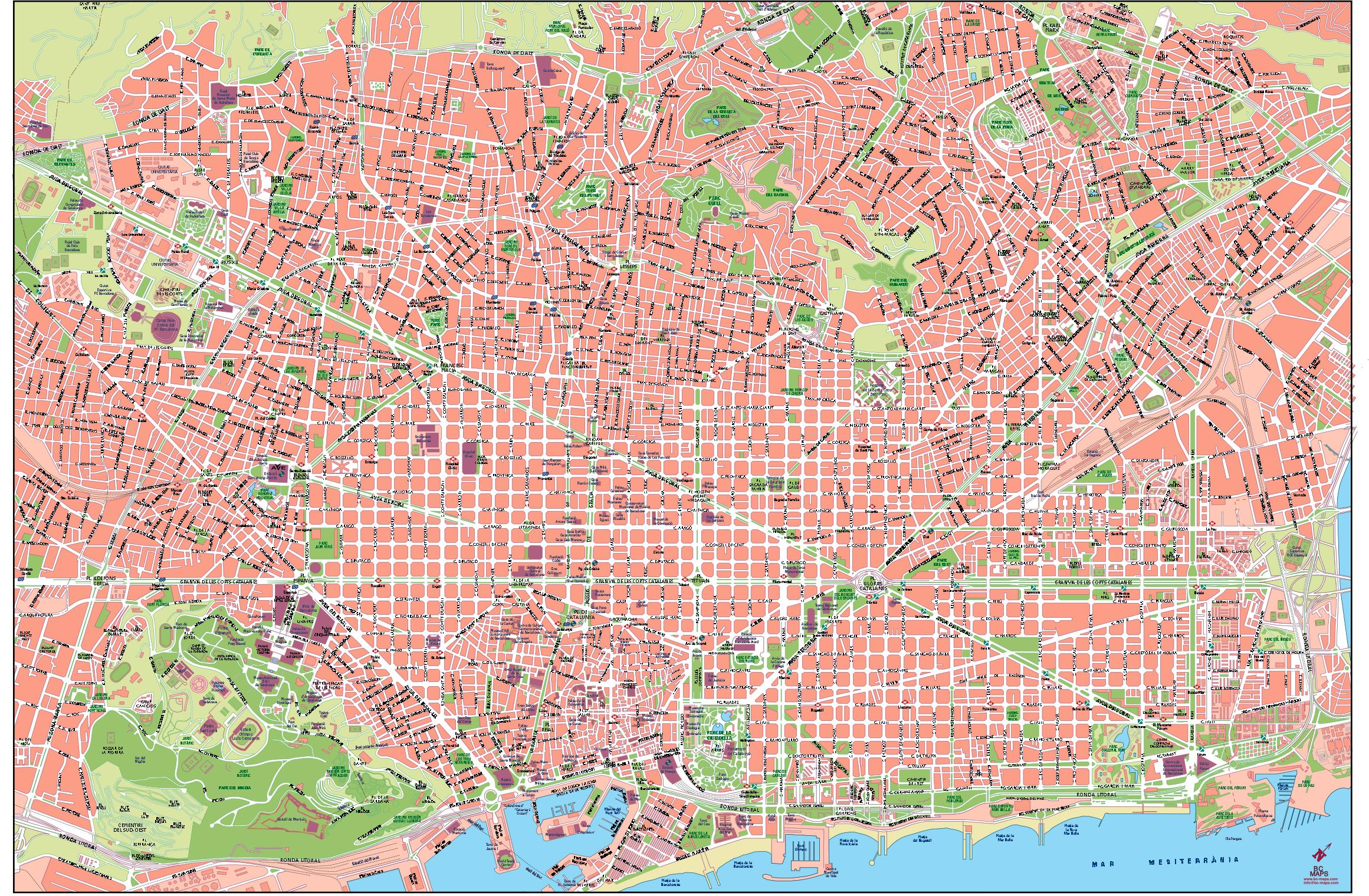 Barcelona City Map images Barcelona Map